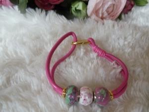 Statement Pu-Leder Modulperlenarmband mit Edelstein-Perlen - Handarbeit kaufen
