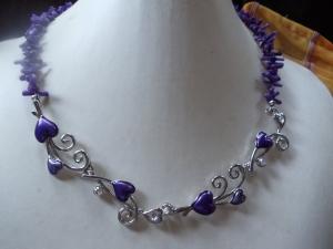 Amelie traumhaftes lila eingefärbtes Korallencollier Jewelry Neclaces - Handarbeit kaufen
