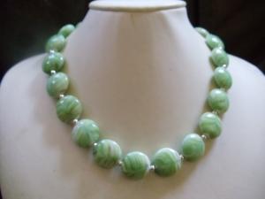 Adda Statement Necklaces Vintage Lamp Work Perlen grün-beige - Handarbeit kaufen