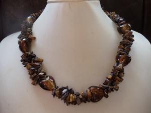 Statement Kette Tigerauge mit Lampwork Herzen Jewelry - Handarbeit kaufen