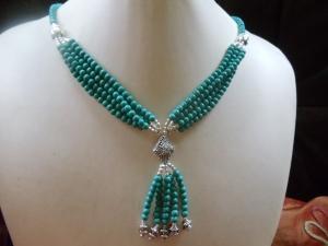 Türkis Set 3-teilig Flower Power Statement Jewelry Neclaces Aktiv  - Handarbeit kaufen