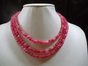 3-reihiges Pfirsischblüten-Jade Collier Statement Jewelry Neclaces - Handarbeit kaufen