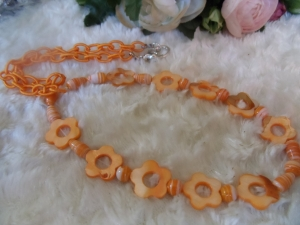 Sommer Feeling orange Statement Neclaces Vintage Ethno rosa - Handarbeit kaufen