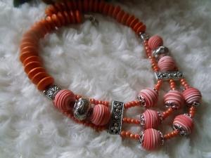 Statement Kette Cora Orange Ethno Hippie - Handarbeit kaufen