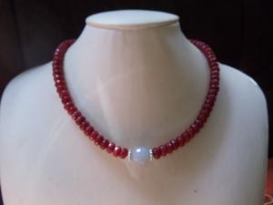 Rubin Rondelle Facettenschliff mit Aquamarin Statement Jewelry Neclaces - Handarbeit kaufen
