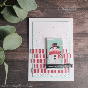 Handgemachte Weihnachtskarte - Festtagsgrüße mit Schneemann