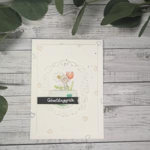 Handgemachte Geburtstagskarte - Sag's mit Blumen