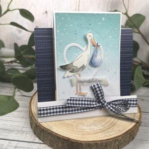 Handgemachte Glückwunschkarte zur Geburt eines Jungen- Der Storch ist da