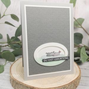Handgemachte Grußkarte zum Geburtstag - brummeliges Nilpferd