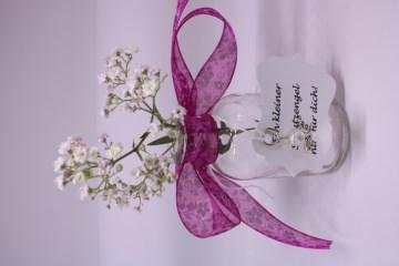 Glasflasche Vase mit Engel / Schutengel und Karte