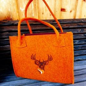 Tasche aus Wollfilz rotorange bestickt mit Hirsch