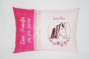 Namenskissen ( Dekokissen)  zur Geburt oder Taufe mit Pferdemotiv - Handarbeit kaufen