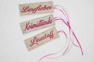 Lesezeichen aus Filz mit Namen bestickt - Handarbeit kaufen