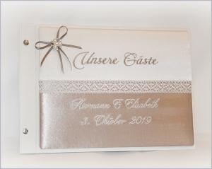 Hochzeitsgästebuch mit besticktem Buchcover - Handarbeit kaufen
