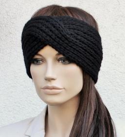 TURBAN STIRNBAND, Wolle / Kaschmir / Alpaka, schwarz, Ohrenschützer, gestrickt - Handarbeit kaufen