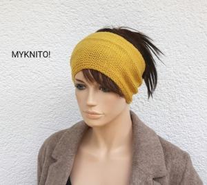 Handgestricktes STIRNBAND, weiche Wolle, senfgelb, Ohrenwärmer, gestricktes Stirnband, Wollstirnband - Handarbeit kaufen