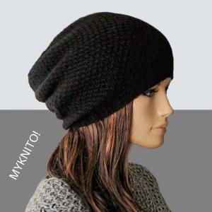 BEANIE Mütze, Wolle, Kaschmir, schwarz, Strickmütze, Kaschmir Beanie, Wollmütze - Handarbeit kaufen