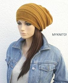 BEANIE Mütze, Wolle, senfgelb, handgestrickt, Strickmütze, Wollmütze, Wintermütze - Handarbeit kaufen