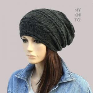 Beanie,  Mütze, Wolle, dunkelgrau, handgestrickt, Strickmütze, Wollmütze, Wintermütze  - Handarbeit kaufen