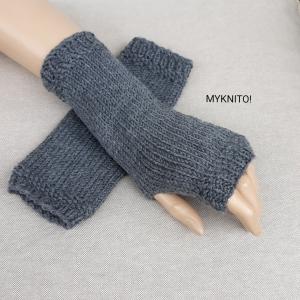 Armstulpen,  Wolle, mittelgrau, handgestrickt, Pulswärmer, gestrickt, fingerlose HandschuhE - Handarbeit kaufen