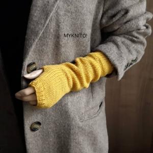 ARMSTULPEN, lang,  Wolle, senfgelb, handgestrickt, fingerlose Handschuhe