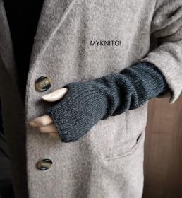 ARMSTULPEN, lang,  Wolle, anthrazit, handgestrickt, fingerlose Handschuhe - Handarbeit kaufen