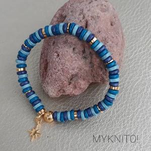 Perlenarmband, Boho, blau, petrol, gold mi Gummizug, unisex, elastisch, Armband, Damen, Herren, Bohoarmband - Handarbeit kaufen