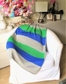 Sommer Babydecke, Wolle, pastell mint, gestrickt, Kuscheldecke, Wagendecke  - Handarbeit kaufen