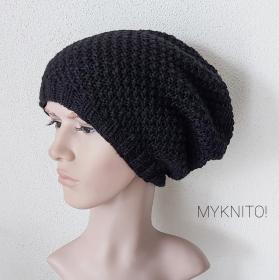 Männer BEANIE Mütze, Wolle, schwarz, handgestrickt, Strickmütze, Wollmütze, Wintermütze - Handarbeit kaufen