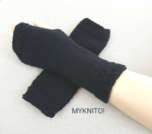 ARMSTULPEN,  Wolle, schwarz, handgestrickt, fingerlose Handschuhe