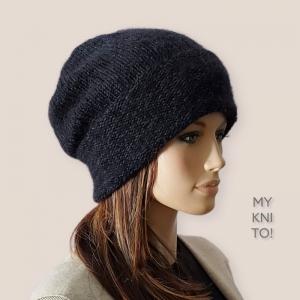 Beanie Mütze, Wolle/Mohair/Seide, schwarz, Strickmütze, Hipster, handgestrickt - Handarbeit kaufen
