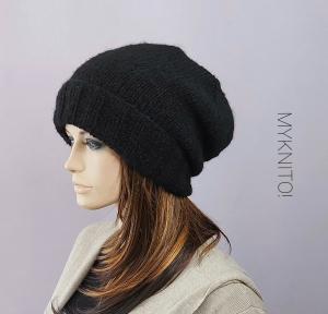 Kuschelige Beanie Mütze, Wolle/Alpaka, schwarz, Strickmütze, gestrickt - Handarbeit kaufen