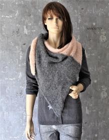 Dreieckstuch, Alpaka / Wolle, grau / nude, Schal, gestrickt, Strickschal, gestrickter Schal - Handarbeit kaufen