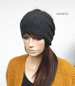Stirnband, Wolle, dunkelgrau, Ohrenwärmer, gestricktes Stirnband, Wollstirnband - Handarbeit kaufen