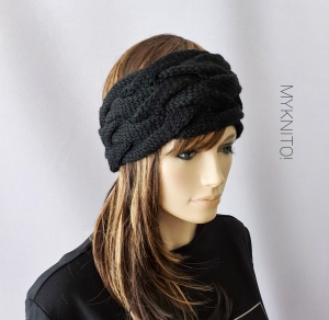 Stirnband, Wolle, schwarz, handgestrickt, Ohrenwärmer, gestrickt