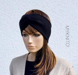 STIRNBAND, Wolle, schwarz, Ohrenwärmer, gestricktes Stirnband