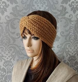 Stirnband, Wolle / Kaschmir, karamell, Ohrenschützer, gestrickt - Handarbeit kaufen