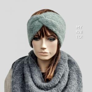 Stirnband, Alpaka, Seide, salbei, gestrickt, Ohrenwärmer - Handarbeit kaufen