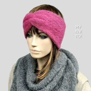 Stirnband, Alpaka, Seide, pink, gestrickt, Ohrenwärmer - Handarbeit kaufen