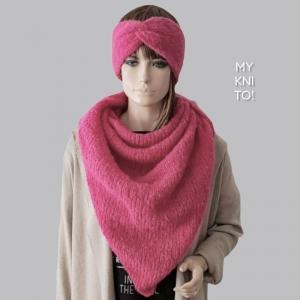 Dreieckstuch, Alpaka / Seide, pink, Schal, gestrickt, Strickschal, gestrickter Schal - Handarbeit kaufen