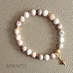 Perlenarmband, Achat, Vintage rose, Halbedelstein, elastisch, Perlen, Armband, Frauen, Männer, unisex - Handarbeit kaufen