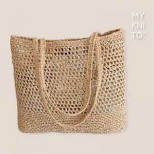 Raffia Tasche, Boho-Tasche, natur, Umhängetasche, Shopper, gehäkelt, Einkaufstasche - Handarbeit kaufen