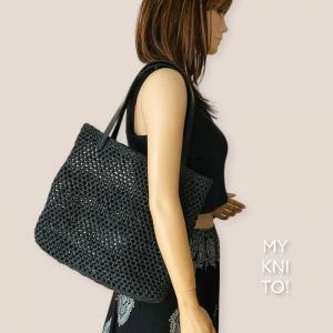 Raffia Tasche, Umhängetasche, Shopper, natur, Häkeltasche, gehäkelt, Einkaufstasche