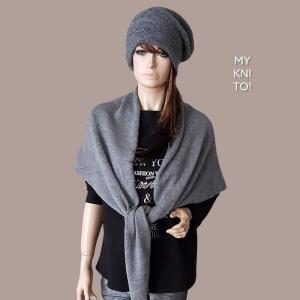 Dreieckstuch, Wolle, mittelgrau, Schal, gestrickt, Strickschal, Schulterwärmer  - Handarbeit kaufen