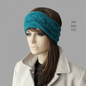 Stirnband, Wolle, petrol, handgestrickt, Ohrenwärmer, gestricktes Stirnband - Handarbeit kaufen