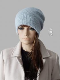 Strickmütze, Wolle, Mohair, hellblau, Beanie, Mütze, Kaschmir, gestrickt - Handarbeit kaufen