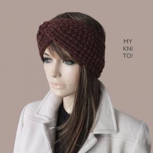 Stirnband, Wolle, kastanienbraun, handgestrickt, Ohrenwärmer, gestricktes Stirnband - Handarbeit kaufen