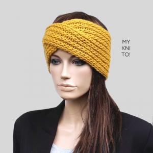 Stirnband, Wolle, senfgelb, handgestrickt, Ohrenwärmer, gestricktes Stirnband - Handarbeit kaufen