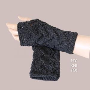 Armstulpen, Wolle, dunkelgrau, Pulswärmer, gestrickt, handgestrickt, fingerlose Handschuhe - Handarbeit kaufen