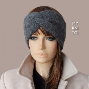Stirnband, Alpaka, Wolle,  grau, gestrickt, Ohrenwärmer - Handarbeit kaufen